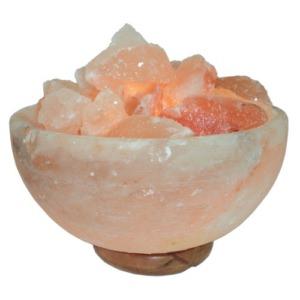 Лампа Ваза с камнями в соляной чаше из гималайской соли